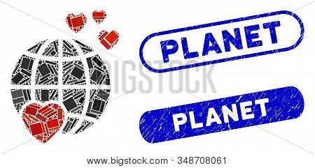 Mosaic Lovely Planet And Corroded Stamp Seals With Planet Caption. Mosaic Vector Lovely Planet Is De