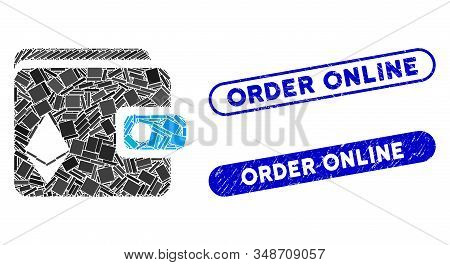 Mosaic Ethereum Purse And Distressed Stamp Watermarks With Order Online Text. Mosaic Vector Ethereum