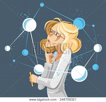 Woman Scientist Discovering Micro Elements Such As Molecules Or Atoms Vector Conceptual Illustration