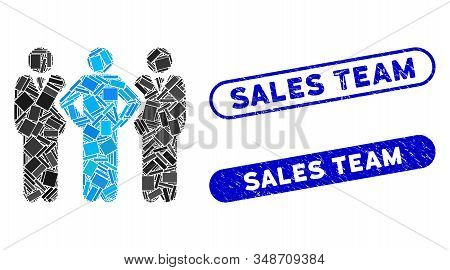 Collage Team And Corroded Stamp Seals With Sales Team Phrase. Mosaic Vector Team Is Designed With Sc