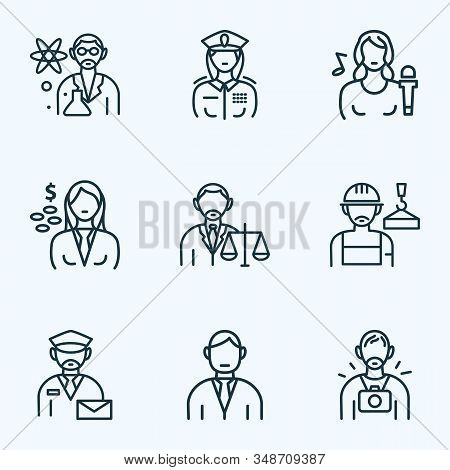 Job Icons Line Style Set With Lawyer, Photographer, Builder And Other Mailman Elements. Isolated Vec