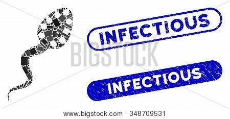 Mosaic Infectious Microbe And Rubber Stamp Watermarks With Infectious Caption. Mosaic Vector Infecti