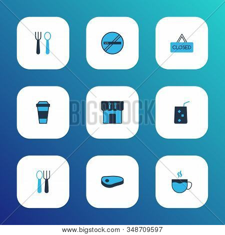 Restaurant Icons Colored Set With Cafeteria, Closed, Silverware And Other Cigarette Forbidden Elemen