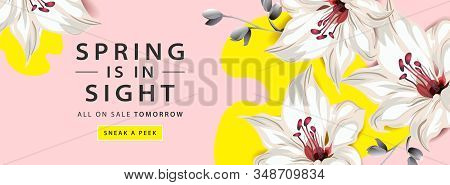 Spring Sale Horizontal Web Banner Poster With Lily Flowers On Pink And Yellow Background, Vector Ill