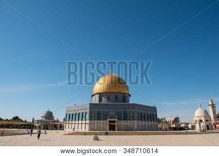 Dome Of The Rock Islamic Shrine,temple Mount, Jerusalem, Palestinian Territories, Israel
