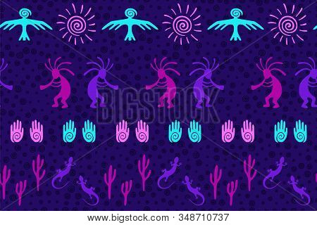 Southwestern Native American Vector Ethnic Tribal Motifs Seamless Pattern. Folk Design With Humpback