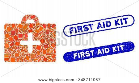 Collage First Aid And Distressed Stamp Seals With First Aid Kit Text. Mosaic Vector First Aid Is Des