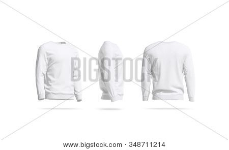 Blank White Casual Sweatshirt Mock Up, Side And Back View, 3d Rendering. Empty Man Sweater Or Overal
