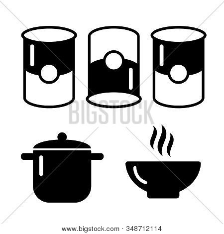 Soup Dish Isolated Icon. Soup Icons Vector Set