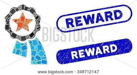 Collage Reward Badge And Rubber Stamp Seals With Reward Text. Mosaic Vector Reward Badge Is Formed W