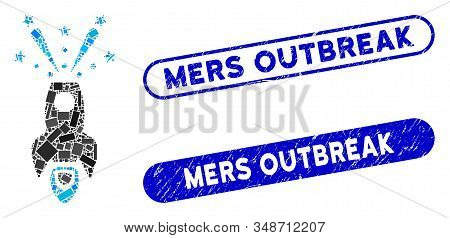 Mosaic Space Rocket Boom And Corroded Stamp Watermarks With Mers Outbreak Text. Mosaic Vector Space