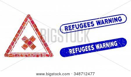 Mosaic Reject Triangle And Rubber Stamp Seals With Refugees Warning Phrase. Mosaic Vector Reject Tri