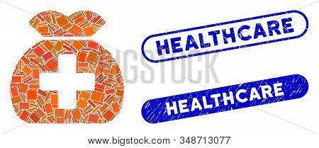 Mosaic Medical Fund Sack And Corroded Stamp Seals With Healthcare Caption. Mosaic Vector Medical Fun