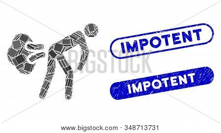 Collage Fart Gases And Distressed Stamp Seals With Impotent Caption. Mosaic Vector Fart Gases Is Com