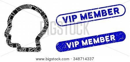 Collage Man Profile And Grunge Stamp Seals With Vip Member Text. Mosaic Vector Man Profile Is Formed