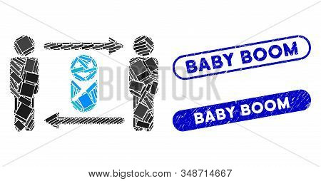 Collage Persons Child Exchange And Corroded Stamp Seals With Baby Boom Caption. Mosaic Vector Person