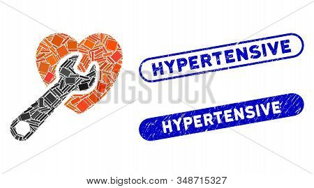 Mosaic Heart Surgery And Corroded Stamp Seals With Hypertensive Text. Mosaic Vector Heart Surgery Is