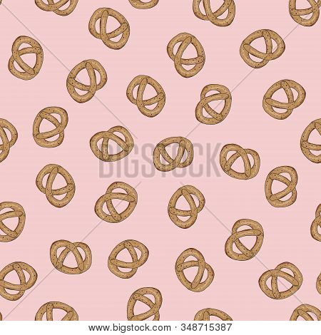 Pretzel Seamless Pattern On Pink Background. Pastries, Baked Goods, Snacks For The Holiday. Baby Tre