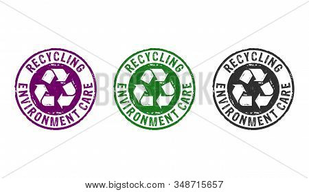 Recycling Stamp Icons In Few Color Versions. Recycle Symbol, Arrows, Recyclable Materials, Environme