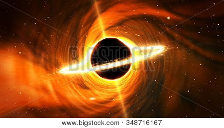 Black Hole Space. Star With Matter Cloud Swirl Ring And Energy Jets. Vortex In Galaxy Center Around