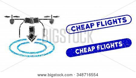 Mosaic Drone Landing And Corroded Stamp Seals With Cheap Flights Text. Mosaic Vector Drone Landing I