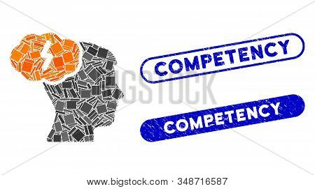 Collage Brainstorm And Distressed Stamp Seals With Competency Text. Mosaic Vector Brainstorm Is Form