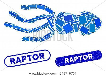 Mosaic Squid And Corroded Stamp Seals With Raptor Caption. Mosaic Vector Squid Is Formed With Scatte