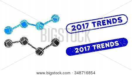 Mosaic Trends And Grunge Stamp Seals With 2017 Trends Phrase. Mosaic Vector Trends Is Composed With