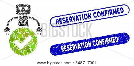 Mosaic Valid Robot And Rubber Stamp Watermarks With Reservation Confirmed Phrase. Mosaic Vector Vali