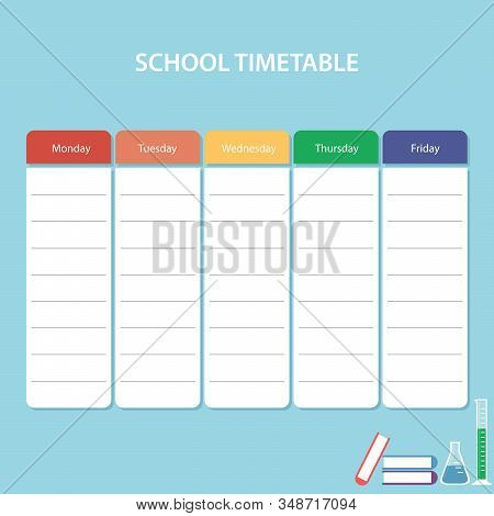 Colorful School Timetable Card With Weekdays Vector