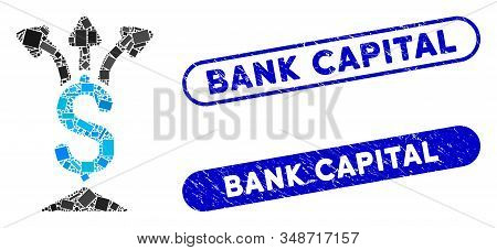 Mosaic Share Money And Corroded Stamp Seals With Bank Capital Caption. Mosaic Vector Share Money Is