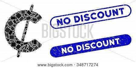 Mosaic Cent And Distressed Stamp Seals With No Discount Text. Mosaic Vector Cent Is Composed With Sc