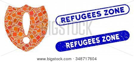 Mosaic Problem Shield And Corroded Stamp Seals With Refugees Zone Phrase. Mosaic Vector Problem Shie