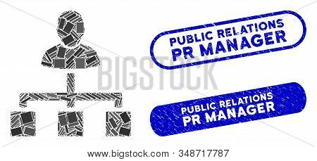 Mosaic User Hierarchy And Grunge Stamp Seals With Public Relations Pr Manager Caption. Mosaic Vector