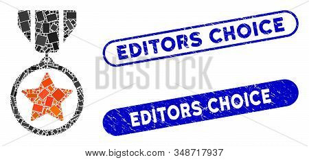 Mosaic Army Medal And Rubber Stamp Watermarks With Editors Choice Text. Mosaic Vector Army Medal Is