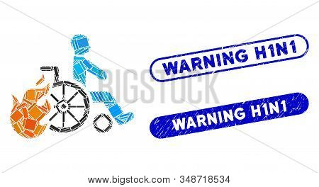 Mosaic Burn Patient And Corroded Stamp Watermarks With Warning H1n1 Caption. Mosaic Vector Burn Pati