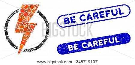 Mosaic Electric Power And Grunge Stamp Seals With Be Careful Caption. Mosaic Vector Electric Power I