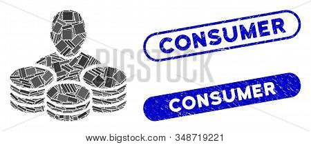 Collage Rich Man And Rubber Stamp Seals With Consumer Caption. Mosaic Vector Rich Man Is Formed With