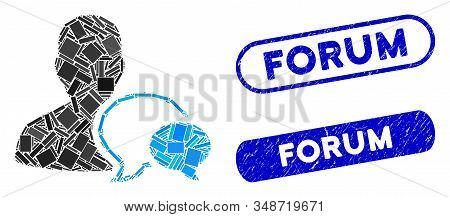 Mosaic Forum Moderator And Corroded Stamp Seals With Forum Text. Mosaic Vector Forum Moderator Is Cr