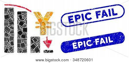 Mosaic Yen Epic Fail Chart And Rubber Stamp Watermarks With Epic Fail Phrase. Mosaic Vector Yen Epic
