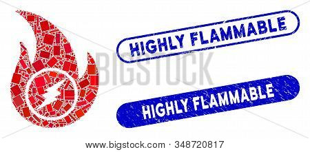 Mosaic Electric Flame And Distressed Stamp Seals With Highly Flammable Caption. Mosaic Vector Electr
