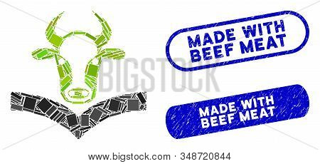 Mosaic Cow Handbook And Rubber Stamp Seals With Made With Beef Meat Text. Mosaic Vector Cow Handbook