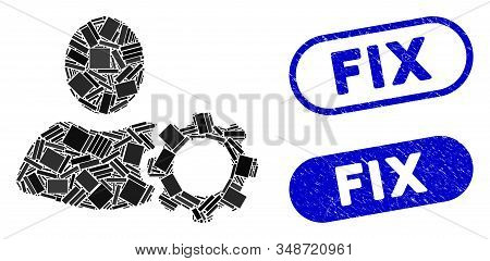 Mosaic Options And Grunge Stamp Watermarks With Fix Text. Mosaic Vector Options Is Composed With Ran