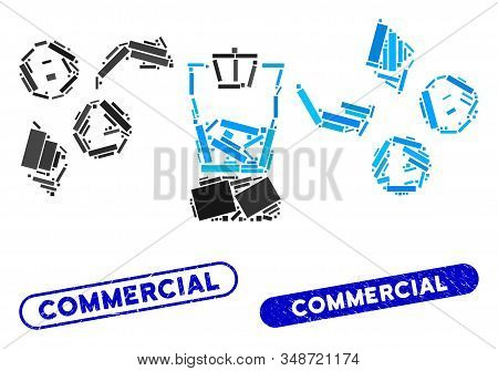 Mosaic Cryptocurrency Mixer And Distressed Stamp Watermarks With Commercial Caption. Mosaic Vector C