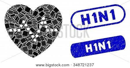 Mosaic Heart Pulse And Rubber Stamp Seals With H1n1 Phrase. Mosaic Vector Heart Pulse Is Created Wit