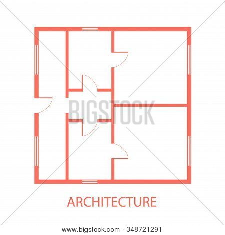 Architectural Construction Plan .design And Layout Of Rooms . Engineering House Plan Project .vector