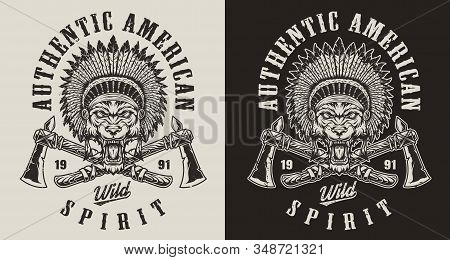 Vintage Wild West Monochrome Emblem With Crossed Tomahawks And Angry Wolf Head In Native American In