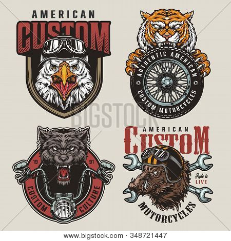 Colorful Vintage Custom Motorcycle Prints With Angry Animals Bikers Mascots Crossed Spanners Moto Ti