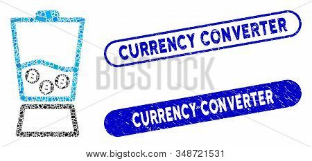 Mosaic Bitcoin Blender And Grunge Stamp Seals With Currency Converter Text. Mosaic Vector Bitcoin Bl