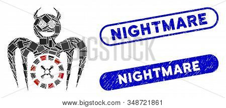 Mosaic Roulette Mad Spectre Devil And Grunge Stamp Seals With Nightmare Phrase. Mosaic Vector Roulet
